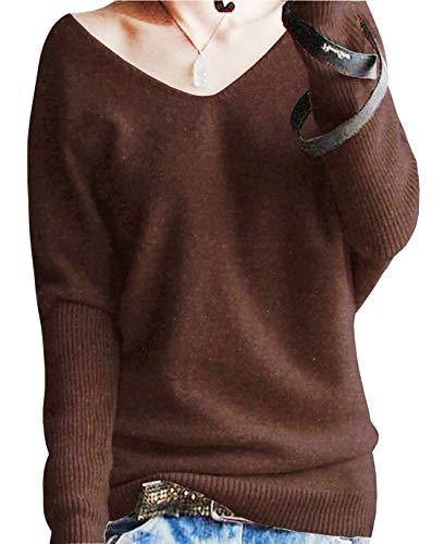 PHELEAD Damen 100% Merinowolle Winterpullover Damen V-Ausschnitt Loose Fledermaus?rmel Strickpulli Oversized Pullover Damen Sexy Warm Sweater (S, Brown)