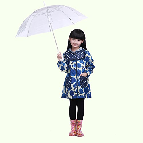 Vestes anti-pluie QFF Child Raincoat Girl Student Baby Poncho Protection de l'environnement sans goût (Couleur : Bleu, Taille : XL)