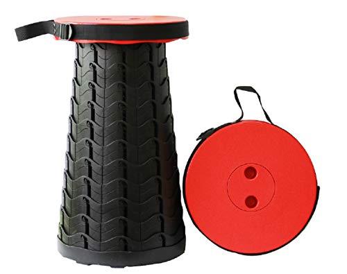Taburete plegable para silla portátil, retráctil, telescópico, ligero, resistente, ajustable, plegable, color rojo
