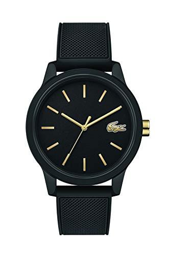 Lacoste Relógio masculino TR90 de quartzo japonês com pulseira de borracha, preto, 19,5 (modelo: 2011010)