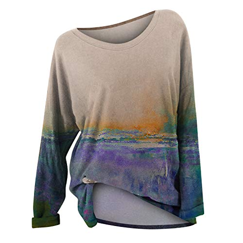 Camiseta de Manga Larga Mujer, 2021 impresión Moda Casual Camiseta Diario Fiesta Camiseta Blusas básica Suéter Camisas Sudadera Top Jersey tee