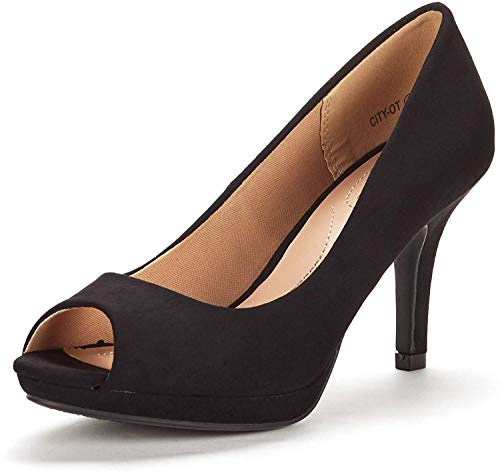 DREAM PAIRS Women's City_ot Black Fashion Stilettos Peep Toe Pumps Heels Shoes Size 8 B(M) US
