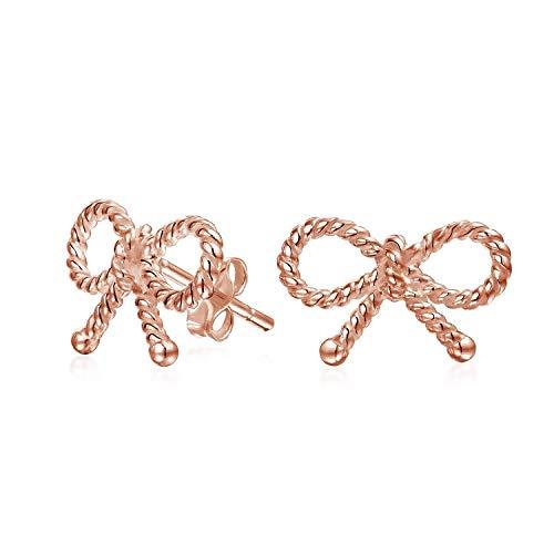 Toque Dulce Cable Cinta Cuerda Lazo Pendiente Boton Mujer Para Adolescentes, La Rosa Oro Chapado En Plata Sterling 925