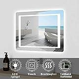 Espejo de pared 80 × 60 cm LED espejo con pantalla táctil sin vaho espejo de...