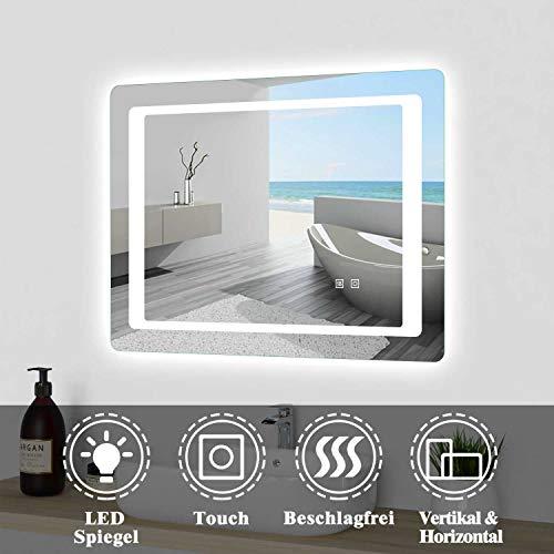 Espejo de pared 80 × 60 cm LED espejo con pantalla táctil sin vaho espejo de pared con iluminación LED CE IP44
