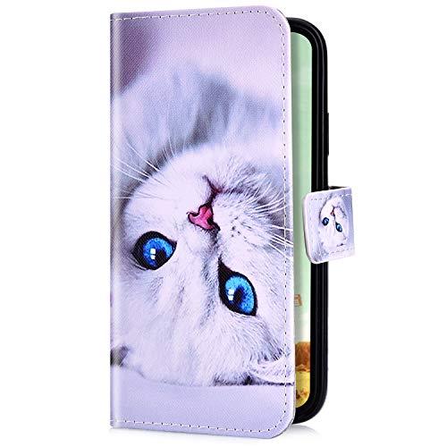 Uposao Kompatibel mit Samsung Galaxy A3 2017 Handyhülle Handy Tasche Schutzhülle Cool Muster Flip Case Brieftasche Klapphülle Leder Hülle Bookstyle Wallet Hülle Cover Kartenfächer,Weiß Katze