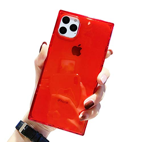 Square Case for iPhone 11 Pro Max,Tzomsze 11 Pro Max Clear Cases Reinforced Corners TPU Cushion,Crystal Clear Slim Cover Shock Absorption TPU Silicone Shell for iPhone 11 Pro Max 6.5 inch (2019)-Red