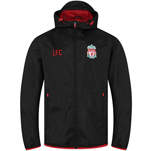 Liverpool FC - Chaqueta Cortavientos Oficial - para Hombre - Impermeable - Negro - Capucha - Grande