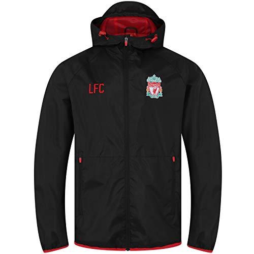 Liverpool FC - Chaqueta Cortavientos Oficial - para Hombre - Impermeable - Negro - Capucha - Mediana
