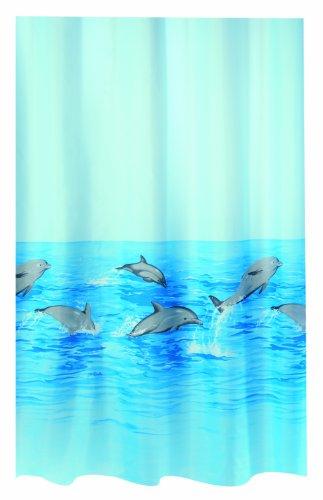 Spirella Nemo Acqua Polyester-Duschvorhang 180x180cm blau/grau/türkis