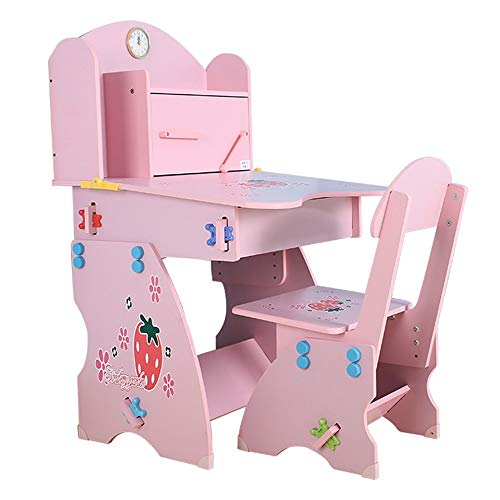 Zavddy Kinder Tisch Stuhl Set Kinder Tisch und Stuhl Set Familien Schreibtisch mit Bücherregal Jungen Und Mädchen, Schreibtisch Aufzug Tisch und Stuhl für Gastronomie Malerei Lesespielzimmer