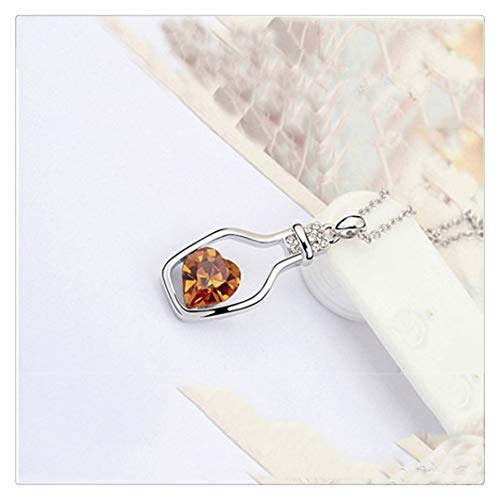 SHOYY Collar de corazón de cristal para mujer, colgante de amor, botellas de deriva regalo para decoraciones de niña (color: dorado)