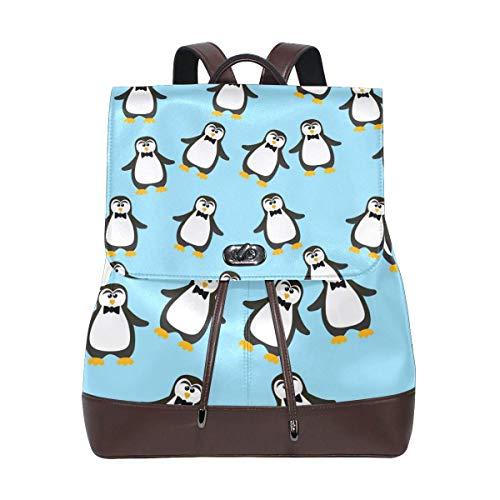 Yuanmeiju Leather Backpack Rucksack Cartoon Cute Penguin Daypack Bags for Girls Boys