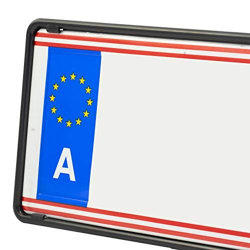 EUROSNAP Auto Kennzeichenhalter Schwarz 2er Set Inklusive Montageanleitung - für Österreich - Dezenter KFZ Kennzeichenrahmen - Universal PKW Nummernschildhalter
