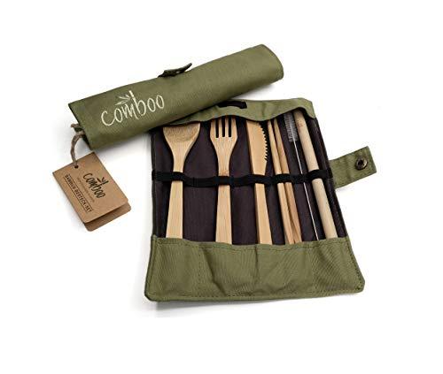 comboo® - Bambus Besteck Set| Reisebesteck | umweltfreundliches Besteckset | Messer, Gabel, Löffel, Stäbchen und Strohhalm| Besteck Holz | Besteck für unterwegs inkl. Tasche | (grün, 20)