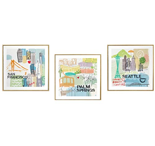 MBQ 3 Pieces Famous Cities Canvas Art Painting Nordic Wall Paintings Wall Decoration Corridor Living Room Print