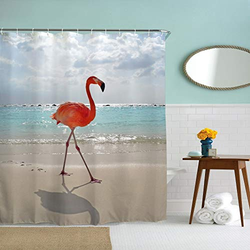 Eleroye 72 x 72 inches Shower Curtain Vivid Pink Flamingo Walking on Beach Tropical Bird Love Water Soap Resistant Machine Washable Fabric Bathroom Decor Set with Hook Bath Curtain