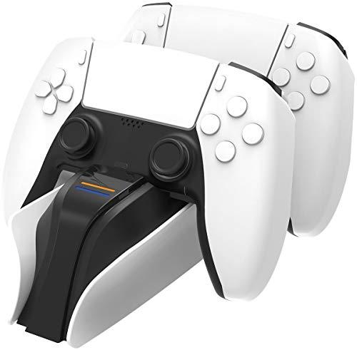 Snakebyte PS5 Twin Charge 5 - weiß - Playstation 5 Ladestation für DualSense Controller, Ladegerät für 2 Wireless-Controller inklusive Type-C Kabel, LED-Ladestatusanzeige, Play Station 5 Design