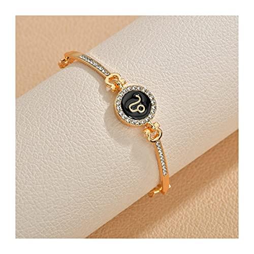 HLH Drop Ship Jewelry Constelaciones 12 Signos del Zodiaco Pulseras de Encanto para Mujeres Men Cumpleaños Regalo Cubic Zircon Zodiac Brazalet Cadena (Metal Color : Leo)