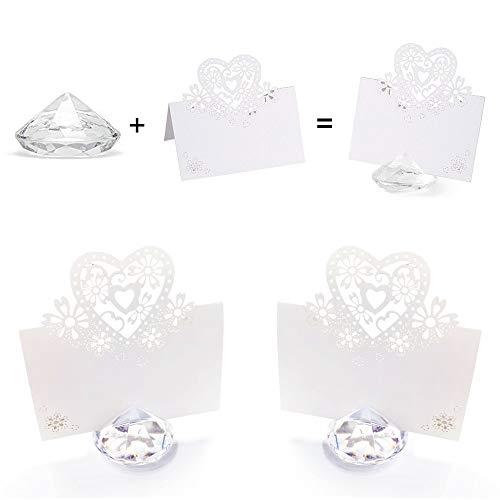 Anyasen Soportes de Tarjeta de Mesa de Cristal Acrílico de Diamante kit con corazón tarjetas para Fiesta Boda Foto Nombre Número Menús Bautizo Comunión Cumpleaños Decoración de Mesa (30 piezas)