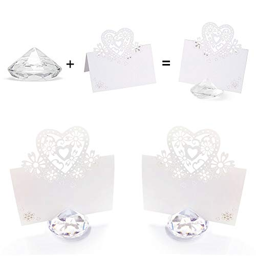 Anyasen segnaposto Diamante segnaposti Kit Matrimonio Posto Titolare Cartoncini Segnaposto Diamante con cartellini segnaposto per Matrimonio Comunione Battesimi Decorazione Carta Tavola (30 Pezzi)