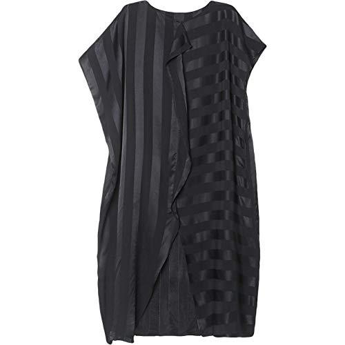BINGQZ Cocktailjurken Zomerjurk vrouwen asymmetrische zwarte stiksels gestreepte rok vleermuismouwen zomerjurk grote maat jurk