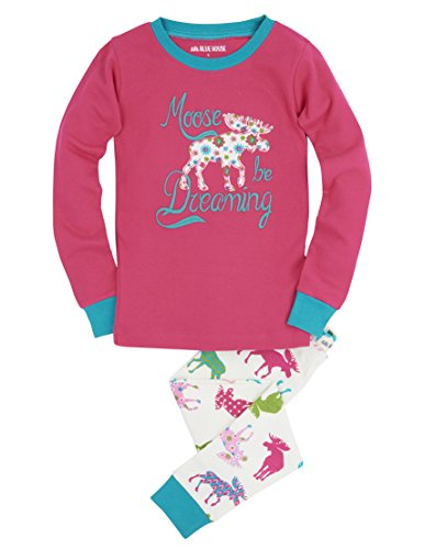 Hatley Long Sleeve Printed Pyjama Sets Pigiama, Avorio (Patterned Moose 100), 6 Anni Bambina