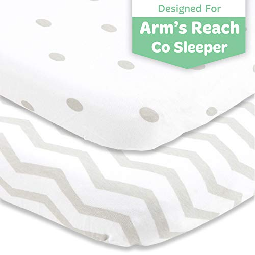 Cuddly Cubs Arms Reach Co Sleeper Sheets Fitted – 18 x 36 Cradle Sheets – Snuggly Soft Cotton – Fits Perfectly Without Bunching Up on Clear Vue, Cambria, Mini Ezee Bassinets – Grey Polka Dots, Chevron