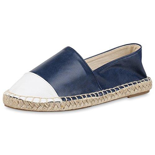 SCARPE VITA Damen Slippers Bast Espadrilles Flats Leder-Optik Freizeit Schuhe 164262 Weiss Dunkelblau Bast 37