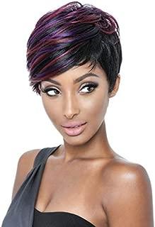 BeiSD Highlight Colorful Short Hair Wigs for Women Highlight Purple Burgundy Black Wig Short Colored Synthetic Wigs for Black Women Girls Hairstyles