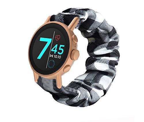 Compatible for Misfit Vapor X Band, Blueshaw Fabric Elastic Scrunchie Elastic Watch Band Women Cute Replacement Straps for Misfit Vapor X 42mm (Grid)