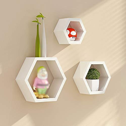 Shelf HLF- Marco de decoración de celosía Creativa Colgante de Pared Hexagonal, repisa de Sala de Estar, Marco de Pared de partición, Estante de Almacenamiento