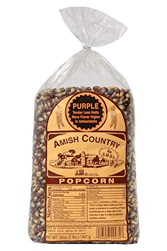 Amish Country Popcorn | 2 lb Bag | Purple Popcorn Kernels | Old Fashioned with Recipe Guide (Purple - 2 lb Bag)