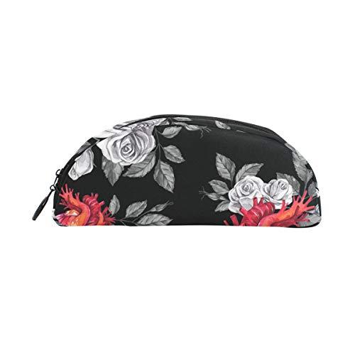 TIZORAX aquarel anatomische harten met rozen potlood tas zak briefpapier Pen Case doos cosmetische zakken voor tiener meisjes jongens kinderen