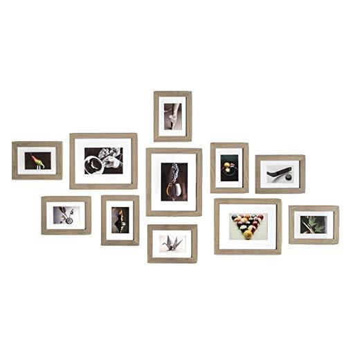 Muzilife Bilderrahmen Collagen 11er Set mit Passepartout Modern Natur Fotorahmen Home Bilderwand 8pcs 13x18cm + 3pcs 20x25cm (Grau)