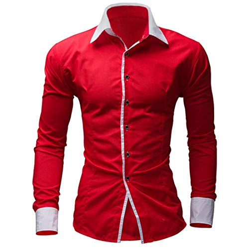 Men's Shirt Long Sleeve Fashion Mens Casual Shirts Solid Color Business Slim Fit British Style Formal Shirt (Color : Red, Size : XXL)