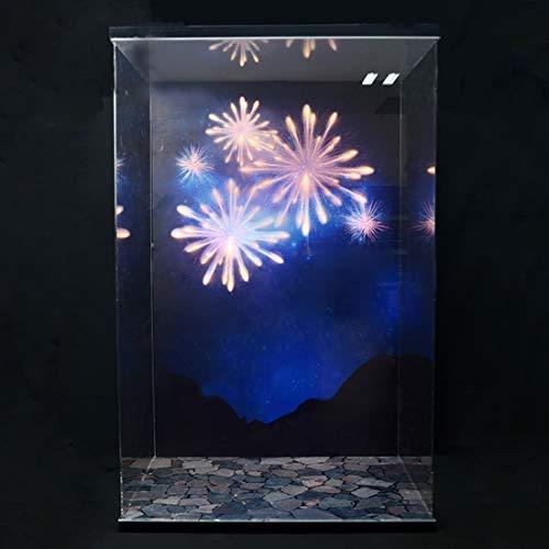 GODNECE Vitrine Acryl Schaukasten, Vitrine mit LED Beleuchtung Staubschutzhaube Acryl Kompatibel Mit Disney 71040 Bausteine (Modell Nicht Enthalten) - Feuerwerk Lichter