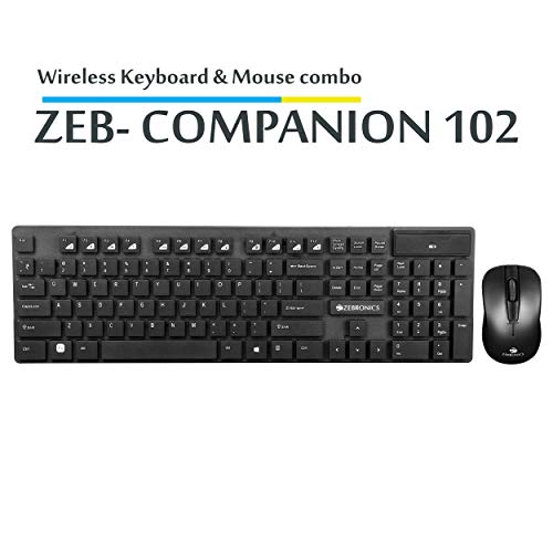 Zebronics Companion 102 Wireless Keyboard and Mouse Combo with Rupee Key