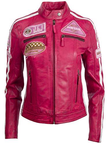 Aviatrix Chaqueta de Motociclista de Moda con Parche de Cuello de Banda de Cuero Real Super Suave para Mujer (QOOC)