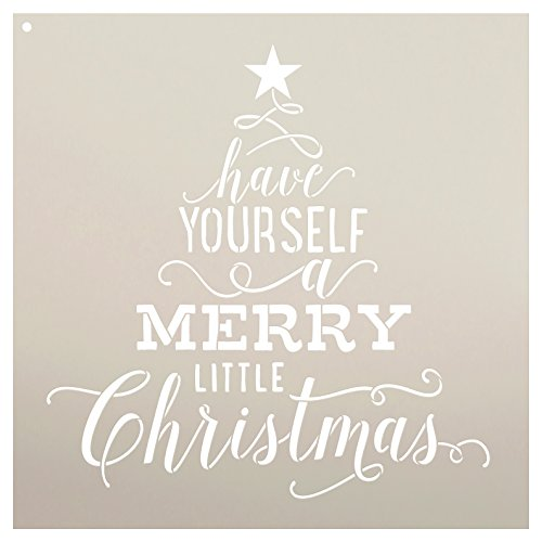 """Have Yourself A Merry Little Christmas Stencil by StudioR12   Tree with Star   Song Lyric   DIY Script Holiday Home Decor   Reusable Mylar Template   Craft & Paint Wood Signs   SELECT SIZE (14"""" x 14"""")"""