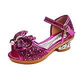 Chica Princesa Zapatos niñas Lentejuelas Tacones Altos Zapatos de Vestido de Cristal Moda Vestido de Arco Zapatos de Fiesta de Boda