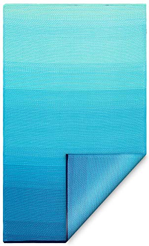 Fab Habitat Reversible Rugs | Indoor or Outdoor Use | Stain Resistant, Easy to Clean Weather Resistant Floor Mats | Big Sur - Teal, 4' x 6'
