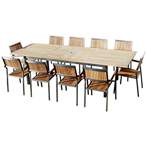 ASS Gartengarnitur Edelstahl Teak Set: Ausziehtisch 200-280x100 cm + 10 Teak Sessel A-Grade Teak Holz Serie Kuba Gastroqualität