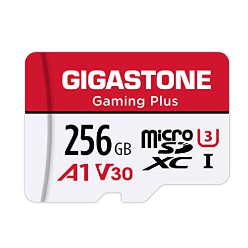 Gigastone Gaming Plus 256GB MicroSDXC Speicherkarte und SD-Adapter, Kompatibel mit Nintendo Switch, Lesegeschwindigkeit bis zu 100MB/s, 4K UHD Videoaufnahmen, A1 U3 V30 Klasse 10 Micro SD Karte UHS-I