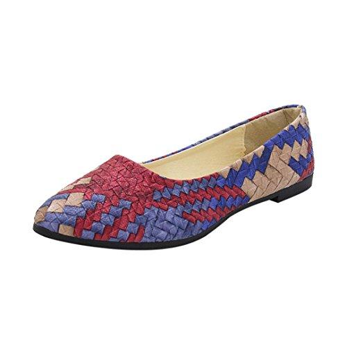 Ansenesna Sandalen Damen Sommer Flach Multicolor Elegant Sommerschuhe Geschlossen Comfort Outdoor Schuhe Blau Grün Rot Größe 35-40 (35, Blau)