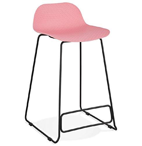 MK Bar-Hocker Barhocker Design halbhoher Ulysses Mini Füße schwarz-Metall (rosa Pulver)