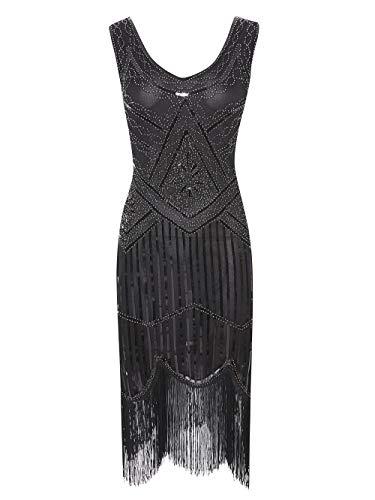 Viloree 1920 Pailletten verschönert Quasten Falten Flapper Damen Mini Kleid Party Gastby Motto...