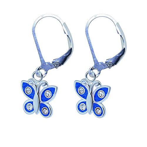 SL-Silver Orecchini Farfalla Cristalli 925Argento in Confezione Regalo