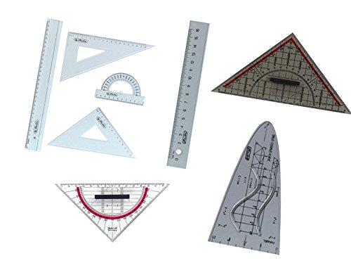 Herlitz Zeichengarnitur 8tlg / Geo-Dreiecke, Lineale, Parabel und Winkelmesser