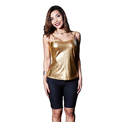 Camisola De Cuero De Patente De PU De Metal para Mujer, Camiseta Sin Mangas Sexy Sin Espalda, Camisa De La Blusa De Chaleco,Oro,M